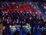 Athletes watch from the stands during the 2014 Sochi Winter Olympics Closing Ceremony at Fisht Olympic Stadium on February 23, 2014 in Sochi, Russia.