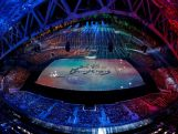 A general view as 'See You In PyeongChang' is projected during the 2014 Sochi Winter Olympics Closing Ceremony at Fisht Olympic Stadium on February 23, 2014 in Sochi, Russia.