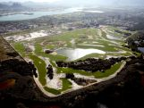 Construction continues at the golf course in the Barra da Tijuca neighborhood with nearly one year to go to the Rio 2016 Olympic Games.