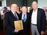 Harry Gordon (C) poses with AOC President John Coates (L) and Australian Olympian Herb Elliott (R) during the Launch of 'From Athens With Pride' by Harry Gordon at Museum of Contemporary Art on May 9, 2014 in Sydney, Australia.