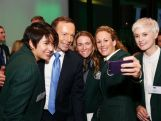 Australian Prime Minister Tony Abbott poses for a photo with members of the 2014 Sochi Australian Olympic team during the Official Welcome Home Celebration For The 2014 Sochi Olympians And Paralympians at Museum of Contemporary Art on May 9, 2014 in Sydney, Australia.