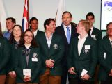 Australian Prime Minister Tony Abbott poses for a photo with members of the 2014 Sochi Australian Olympic and Paralympic Teams during the Official Welcome Home Celebration For The 2014 Sochi Olympians And Paralympians at Museum of Contemporary Art on May 9, 2014 in Sydney, Australia.