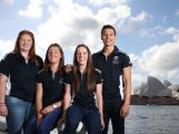 (l-r) Alexandra Hulley, Jessica Thornton, Sam Geddes and Nick Andrews pose during the Australian Youth Olympic Athletics Squad Announcement at Museum of Contemporary Art on May 21, 2014 in Sydney, Australia.