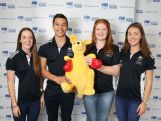 (l-r) Sam Geddes, Nick Andrews, Alexandra Hulley and Jessica Thornton pose during the Australian Youth Olympic Athletics Squad Announcement at Museum of Contemporary Art on May 21, 2014 in Sydney, Australia.