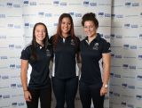 (L-R) Raecene Mcgregor, Tiana Penitani and Emilee Cherry pose during the Australian Youth Olympic Rugby Sevens squad announcement on May 28, 2014 in Sydney, Australia.