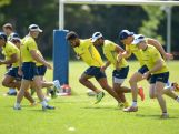 Australian men's rugby team warms up during an Australian men's rugby sevens training session at Sydney Academy of Sport on November 9, 2015 in Sydney, Australia.