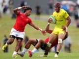 AUCKLAND, NEW ZEALAND - NOVEMBER 15:  Pama Fou of Austraila in action during the World Sevens Oceania Olympic Qualification Final between Australia and Tonga on November 15, 2015 in Auckland, New Zealand.