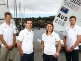 SYDNEY, AUSTRALIA - DECEMBER 04:  (L-R) Will Ryan, Mathew Belcher, Lisa Darmanin and Jason Waterhouse pose during a selection announcement for the Australian Olympic Games sailing team for Rio 2016.