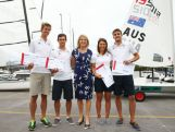 (L-R) Will Ryan, Mathew Belcher, Lisa Darmanin and Jason Waterhouse pose with Australian Olympic Games team chef de mission Kitty Chiller (C) during a selection announcement for the Australian Olympic Games sailing team for Rio 2016.