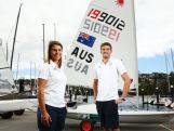 Lisa Darmanin (L) and Jason Waterhouse (R) pose during a selection announcement for the Australian Olympic Games sailing team for Rio 2016.