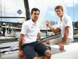 Mathew Belcher (L) and Will Ryan (R) pose during a selection announcement for the Australian Olympic Games sailing team for Rio 2016.