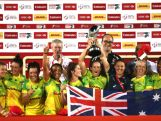 The Australian team celebrate winning the the World Rugby Women's Sevens Series Cup Final on December 4, 2015 in Dubai.