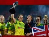 Emilee Cherry, Australian Captain raises the trophy after winning the World Rugby Women's Sevens Series Cup Final on December 4, 2015 in Dubai.