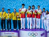 The victorious China team (centre) posing with their gold medals after winning the Mixed 4X100m freestyle relay swimming final of the Singapore 2010 Youth Olympic Games (YOG) at the Singapore Sports School in Singapore, Aug 15, 2010. The Australian team (left) took the silver while the French team (right) took the bronze.