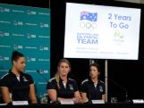 Liz Cambage, Holly Lincoln-Smith and Alicia Quirk speak at the AOC Press Conference to mark 2 Years to the Rio Olympics and also Seven's Olympic Broadcast deal.