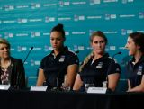 Alicia Quirk gets excited talking about the Olympic debut of rugby sevens during a media conference to mark the Two Years To Go countdown to the 2016 Rio Olympic Games at Museum of Contemporary Art on August 5, 2014 in Sydney, Australia.