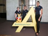 (L-R) Rugby Sevens Olympic hopeful Alicia Quirk, Olympic water polo bronze medallist Holly Lincoln-Smith and Olympic basketball bronze medallist Liz Cambage at a media conference to mark the Two Years To Go countdown to the 2016 Rio Olympic Games at Museum of Contemporary Art on August 5, 2014 in Sydney, Australia.