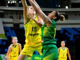 Cayla Francis drives the ball against Erika Souza of Brazil during the International Womens Basketball Tournament - Aquece Rio Test Event.