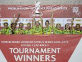Australia celebrates winning the Women's Sevens World Series at Arena Barueri on February 21, 2016 in Sao Paulo, Brazil.