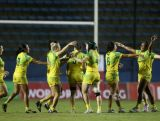 Australia celebrates winning the final against Canada during the Women's Sevens World Series in Sau Paulo, Brazil on February 21.