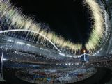 Fireworks are seen after the lighting of the cauldron during the opening ceremony for the Athens 2004 Summer Olympic Games on August 13, 2004 at the Sports Complex Olympic Stadium.