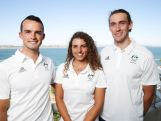 Lucien Delfour, Jessica Fox and Ian Borrows pose during the Australian Rio 2016 Olympic Games canoe slalom team announcement on February 25, 2016 in Sydney, Australia.