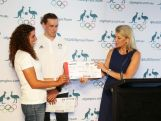 Australian Chef de Mission Kitty Chiller presents Jessica Fox with her Qantas boarding pass to Rio during the Australian Rio 2016 Olympic Games canoe slalom team announcement on February 25, 2016 in Sydney, Australia.