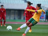 Kyah Simon scores her team's second goal during the AFC Women's Olympic Final Qualification Round match between Australia and Vietnam on March 2, 2016 in Osaka, Japan.