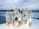 Australian athletes pose in the Australian 2016 Rio Olympic Games Opening Ceremony uniform during the Australian Olympic Games Opening Ceremony Uniform Official Launch at Bondi Icebergs on March 30, 2016 in Sydney, Australia.