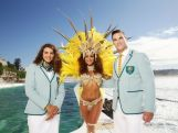 Australian athletes Jessica Fox (L) and Ed Jenkins (R) pose with a Brazilian dancer in the Australian 2016 Rio Olympic Games Opening Ceremony uniform during the Australian Olympic Games Opening Ceremony Uniform Official Launch at Bondi Icebergs on March 30, 2016 in Sydney, Australia.