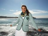 Slalom paddler  Jessica Fox poses in her Australian opening ceremony uniform during Sportscraft's opening ceremony and formal uniform launch on March 30, 2016 in Sydney, Australia.