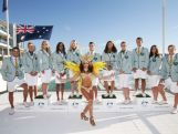 Australian athletes pose in the Australian 2016 Rio Olympic Games Opening Ceremony uniform with a Brazilian dancer during the Australian Olympic Games Opening Ceremony Uniform Official Launch at Bondi Icebergs on March 30, 2016 in Sydney, Australia.