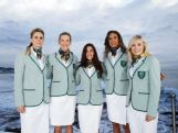 Australian athletes (L-R) Penny Taylor, Louise Bawden, Chalotte Caslick, Taliqua Clancy and Annette Edmondson pose in the Australian 2016 Rio Olympic Games Opening Ceremony uniform during the Australian Olympic Games Opening Ceremony Uniform Official Launch at Bondi Icebergs on March 30, 2016 in Sydney, Australia.