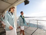Penny Taylor and Jamie Dwyer take part in the Australian Olympic Games Opening Ceremony Uniform Official Launch at Bondi Icebergs on March 30, 2016 in Sydney, Australia.