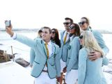 Australian athlete Ed Jenkins takes a selfie with other athletes during the Australian Olympic Games Opening Ceremony Uniform Official Launch at Bondi Icebergs on March 30, 2016 in Sydney, Australia.