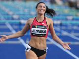 Michelle Jenneke celebrates winning the womens 100m hurdles final during the Australian Athletics Championships at Sydney Olympic Park on April 3, 2016.