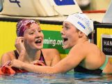 Jessica Ashwood and Tamsin Cook of Australia celebrate finishing first and second in the Women's 400 Metre Freestyle during day two of the 2016 Australian Swimming Championships.
