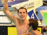 Thomas Fraser-Holmes of Australia celebrates winning the Men's 200 Metre Freestyle during day three of the Australian Swimming Championships.