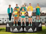 SYDNEY, AUSTRALIA - APRIL 19:  (L-R) Australian Olympians, Holly Lincoln-Smith, Morgan Mitchell, Adam Gibson, Sally Pearson, Madison Wilson, Brooke Stratton, Kyle Chalmers and Stephanie Talbot pose during the Australian Olympic Games Official Uniform Launch at the Park Hyatt Hotel on April 19, 2016 in Sydney, Australia.  (Photo by Matt King/Getty Images for adidas)