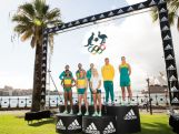 (L-R) Australian Olympians, Holly Lincoln-Smith, Morgan Mitchell, Adam Gibson, Sally Pearson, Madison Wilson, Brooke Stratton, Kyle Chalmers and Stephanie Talbot pose during the Australian Olympic Games Official Uniform Launch at the Park Hyatt Hotel on April 19, 2016 in Sydney, Australia.  (Photo by Matt King/Getty Images for adidas)