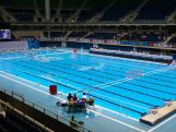 General view of the Olympic Aquatics Stadium during the International Water Polo Tournament - Aquece Rio Test Event for the Rio 2016 Olympics.