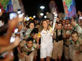 Former volleyball player Leila Barros is the last to lead the torch in Brasilia during the Olympic Flame torch relay on May 3, 2016 in Brasilia, Brazil.