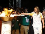 Former volleyball player Leila Barros lights a celebration Cauldron during the torch in Brasilia during the Olympic Flame torch relay on May 3, 2016 in Brasilia, Brazil.