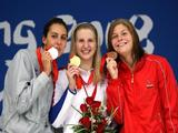 (L-R) Silver medalist Alessia Filippi of Italy, gold medalist Rebecca Adlington of Great Britain and bronze medalist Lotte Friis of Denmark pose on the podium during the medal ceremony for the Women's 800m Freestyle Final held at the National Aquatics Centre during Day 8 of the Beijing 2008 Olympic Games on August 16, 2008 in Beijing, China. Adlington won in a new world record time of 8:16:22.