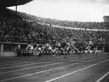 Helsinki 1952:  The final of the women's 80m hurdles. (From left to right) Anneliese Seonbuchner of Germany; Marija Golubichnaja of the USSR; Maria Sander of Germany; Shirley Strickland of Australia (the winner); Fanny Blankers-Koen of Holland; and Jean Desforges.