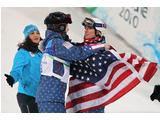 Shannon Bahrke of United States hugs Hannah Kearney of United States 