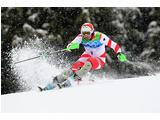 Silvan Zurbriggen of Switzerland competes during the Men's Slalom on day 16 of 