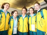 Australian Gymnastic athletes pose for a photo during the Australian Youth Olympics Team Departure at the Sydney International Airport