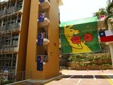 The Australian Flag and Boxing Kangaroo Flag hang proudly outside the Australian Youth Olympic Team residence in the Athlete's Village in Singapore