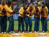 Players from Australia receive their bronze medals during the medal ceremony following the women's grand final gold medal softball game at the Fengtai Softball Field during Day 13 of the Beijing 2008 Olympic Games on August 21, 2008 in Beijing, China.